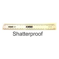 Plastic Ruler - 300mm Clear - Shatter Resistant
