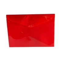 Plastic Document Wallet - A4 -  Red Button Closure