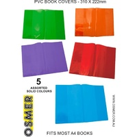 A4 Book Cover - 5 Solid Colours - Pack Of 5