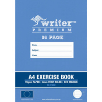 A4 Writer Premium 96pg Exercise Book 8mm ruled + margin