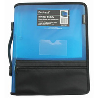 Binder Buddy with Zipper 25mm 2 ring with handle, pencil case, pockets - Blue